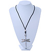 Long Silver Plated 'Dragonfly' Pendant On Black Leather Cord Necklace - 63cm Length/ 4cm Extension