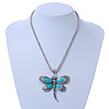 Vintage Hammered Butterfly Pendant On Mesh Chain (Turquoise/ Burn Silver) - 44cm Length/ 6cm Extension