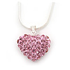 Baby Pink Crystal 3D Heart Pendant On Silver Tone Snake Style Chain - 40cm Length/ 4cm Extention