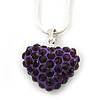 Deep Purple Crystal 3D Heart Pendant On Silver Tone Snake Style Chain - 40cm Length/ 4cm Extention