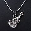 Small Diamante 'Guitar' Pendant With Silver Tone Snake Style Chain - 42cm Length/ 3cm Extender