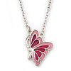 Pink Enamel Butterfly Pendant With Silver Tone Chain - 38cm Length/ 7cm Extension