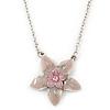 Pink Enamel Flower Pendant With Silver Tone Chain - 36cm Length/ 7cm Extension
