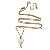 Vintage Inspired Small Cream Enamel Heart Pendant With Long Bronze Tone Chain - 68cm Length/ 8cm Extension