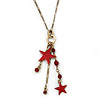 Vintage Inspired Star, Bead, Crystal Tassel Pendant With Gold Tone Chain - 36cm L/ 8cm Ext