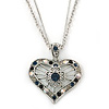 Open, Filigree Crystal Heart Pendant With Double Chain In Silver Tone - 38cm L/ 5cm Ext