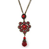 Vintage Inspired Red/ Cranberry Charm Heart Pendant With Double Bronze Tone Chains - 44cm L/ 7cm Ext