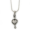 Small Crystal Heart Pendant With Pewter Tone Chain - 40cm L