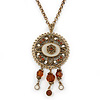 Victorian Style Crystal, Filigree Medallion Pendant With Chunky Gold Tone Chain - 40cm L/ 5cm Ext