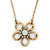 Open Crystal Flower Pendant With Gold Tone Chain - 36cm L/ 7cm Ext