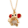 Small Crystal Elephant Pendant With Gold Tone Snake Chain - 40cm Length/ 4cm Extension
