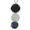Black/ Grey Enamel Triple Circle Pendant with 38cm L/ 8cm Ext Silver Tone Chain