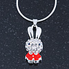 Small Crystal, Red Enamel Bunny Pendant With Silver Tone Snake Chain - 40cm Length/ 4cm Extension