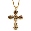 Large Topaz/ Amber Coloured Crystal, Filigree Cross Pendant With Thick Gold Tone Chain - 76cm L