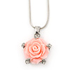 Pink Acrylic Rose Pendant With Silver Tone Snake Chain - 40cm Length/ 5cm Extension