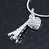 Crystal Eiffel Tower & Heart Pendant With Silver Tone Snake Chain - 40cm Length/ 4cm Extension