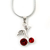Red, Clear Crystal Double Cherry Pendant With Silver Tone Snake Chain - 40cm Length/ 4cm Extension