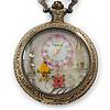 Antique Bronze Tone Eiffel Tower & Flower Motif Quartz Pocket Watch Pendant Necklace - 45mm D/ 80cm L