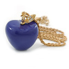 Purple Resin Apple Pendant With Long Gold Tone Chain - 74cm L/ 7cm Ext