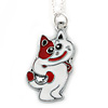 Children's/ Teen's / Kid's Red, White Enamel Cat Pendant With Silver Tone Chain - 38cm L