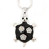 Black Enamel, Crystal Turtle Pendant With Silver Tone Snake Type Chain - 42cm L