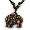 Unisex Acrylic Elephant Pendant With Black Waxed Cotton Cord - Adjustable