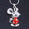 Cute Crystal Mouse Pendant With Silver Tone Snake Type Chain - 40cm L/ 5cm Ext