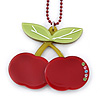 Dark Red/ Light Green Acrylic Cherry Pendant With Burgundy Beaded Chain - 44cm L