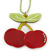 Dark Red/ Light Green Acrylic Cherry Pendant With Green Beaded Chain - 44cm L