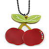 Dark Red/ Light Green Acrylic Cherry Pendant With Black Beaded Chain - 44cm L