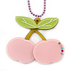 Baby Pink/ Light Green Acrylic Cherry Pendant With Lavender Beaded Chain - 44cm L