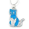 Blue/ White Enamel Kitty Pendant with Silver Tone Chain - 40cm L