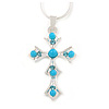 Light Blue Bead, Crystal Cross Pendant with Silver Tone Snake Type Chain - 44cm L/ 4cm Ext