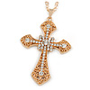 Large Crystal Filigree Cross Pendant with Chunky Long Chain In Gold Tone - 66cm L