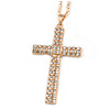 Statement Crystal Cross Pendant with Chunky Long Chain In Gold Tone - 66cm L