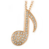 Large Clear Crystal Treble Clef/ Musical Note Pendant with Chunky Chain In Gold Tone - 70cm L