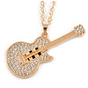Statement Crystal Guitar Pendant with Long Chunky Chain In Gold Tone - 66cm L