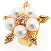 Gold Petal Faux Pearl Ring