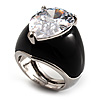 Pear-Cut Clear Swarovski Crystal Fashion Ring