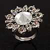 Rhodium Plated Diamante Flower Cocktail Ring (Clear)