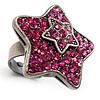 Magenta Crystal Star Ring