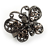 Ash Grey Diamante Butterfly Ring (Black Tone)