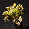 Olive Green Diamante Enamel Floral Cocktail Ring