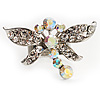 Rhodium Plated Diamante Dragonfly Fashion Ring (Ice Clear)