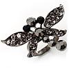 Rhodium Plated Diamante Dragonfly Fashion Ring (Jet Black)