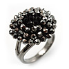 Jet Black Crystal Cocktail Ring (Burnished Silver Tone)