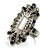 Silver-Tone Elongate Vintage Crystal Ring (Clear&amp;Black)