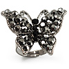Black Tone Jet-Black Crystal Butterfly Ring