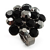 Jet Black Crystal Cluster Ring (Silver Tone)