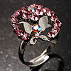 Crystal Butterfly And Flower Ring (Silver&Pink)